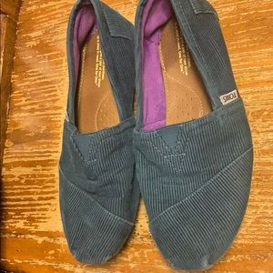 Toms teal corduroy shoes 10 soft inside purple